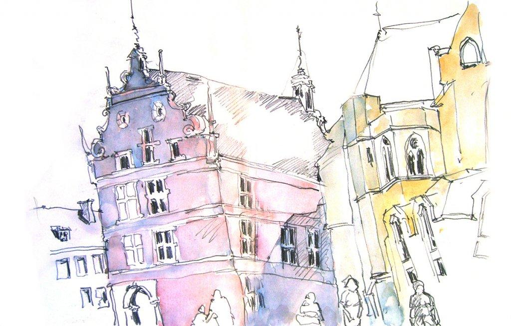 Historisches Rathaus Bocholt – Zeichnung