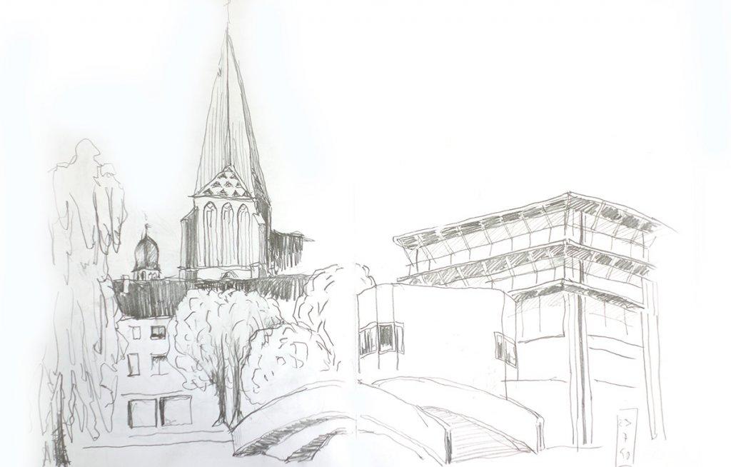 Zeichnung: St. Georg in Bocholt und Neues Rathaus