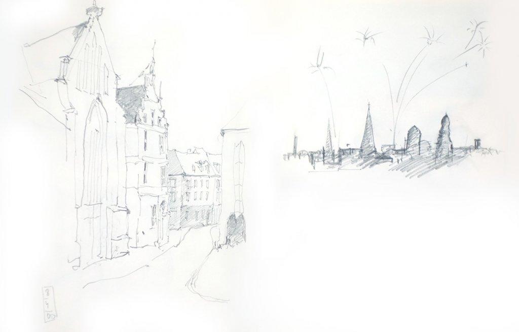 Skizzenblatt: St. Georg in Bocholt und Skyline von Bocholt