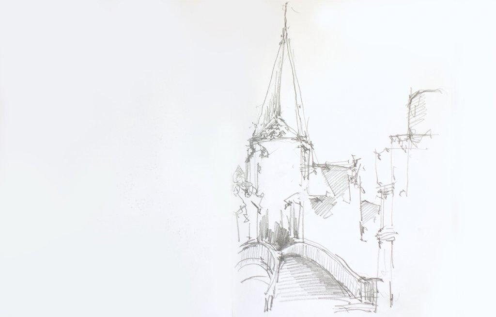 Zeichnung: Die Kirche St. Georg in Bocholt