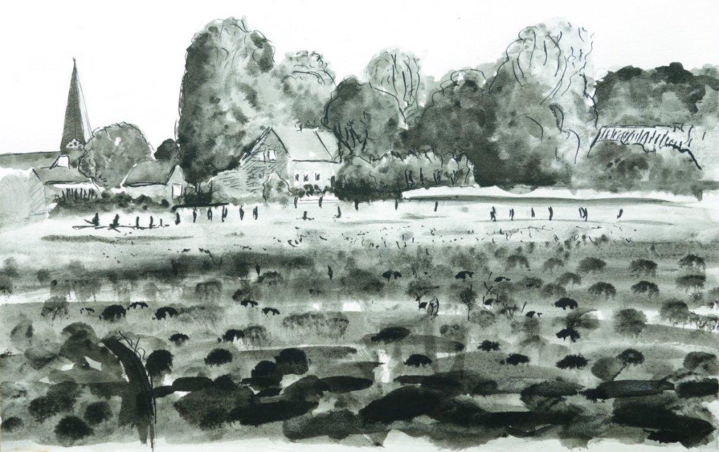 Zeichnung: Blick auf Bocholt vom Efing aus