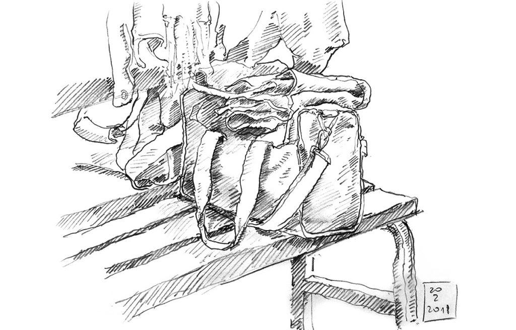 Skizze einer Sporttasche