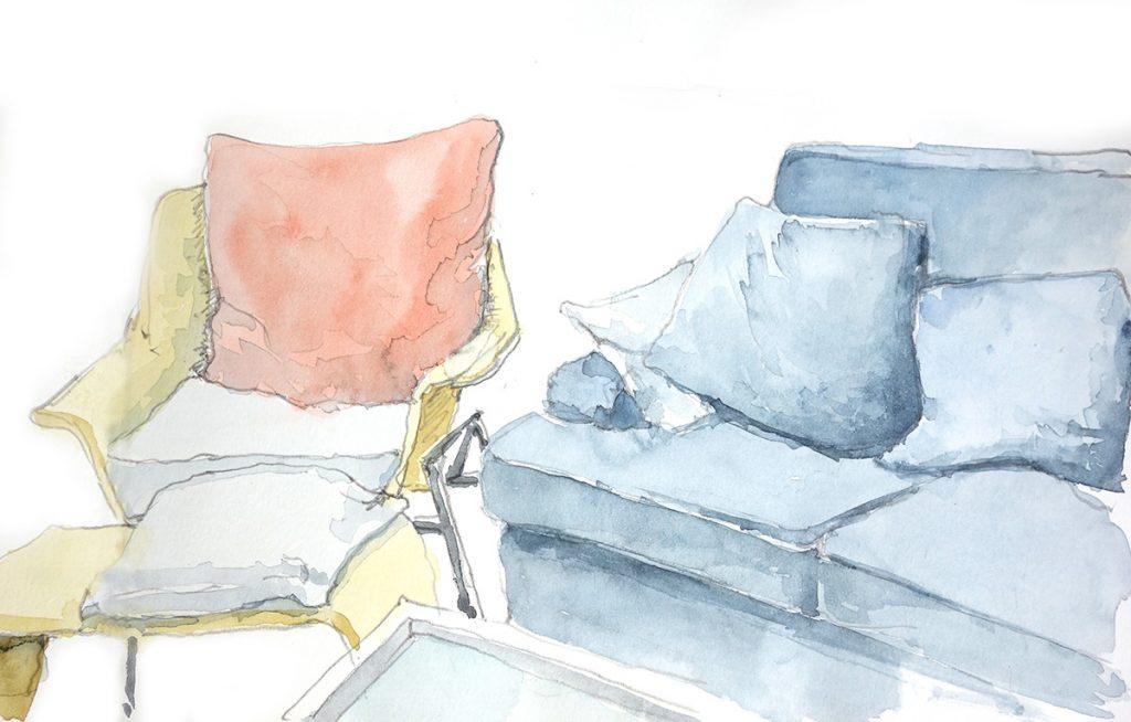 Stuhl und Sofa