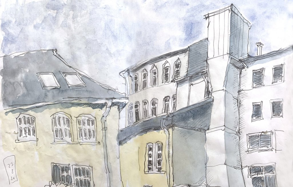 Aquarell: An der Klosterstraße in Köln-Lindenthal